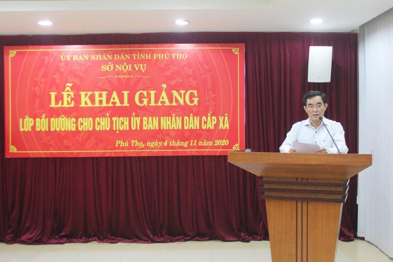 Ông Lê Tiến Hưng, Phó Giám đốc Sở Nội vụ tỉnh Phú Thọ phát biểu tại Lễ khai giảng